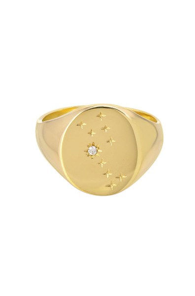 14k gold diamond constellation signet ring