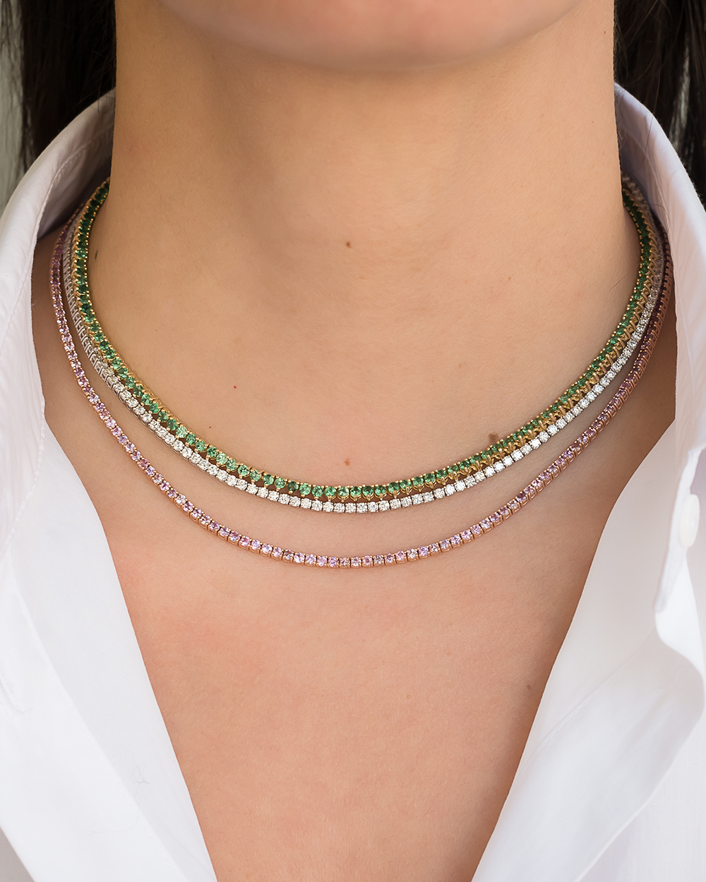 Pink Sapphire Tennis Necklace Zoe Lev Jewelry