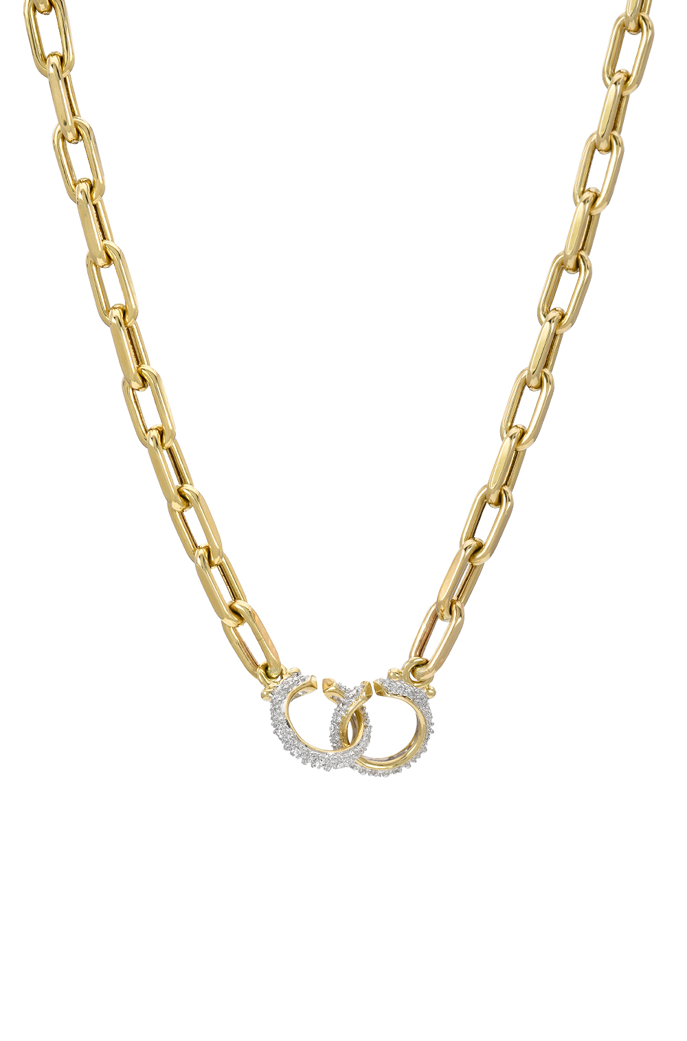 Yellow, White, Rose Gold 14k Gold Handcuffs Necklace