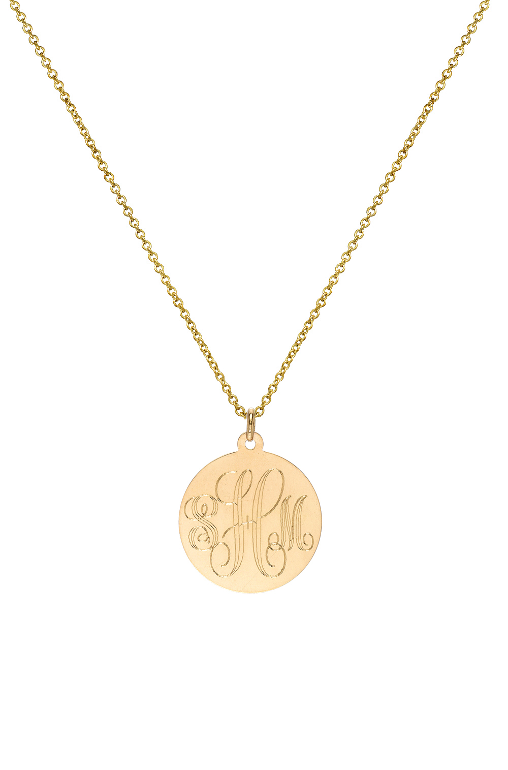14k solid gold 12 inch small disc pendant engravable pendant 14k solid gold monogram disc necklace