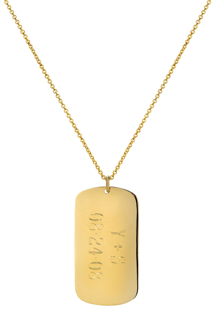 b80d906dc9493 14k Gold Dog Tag Necklace