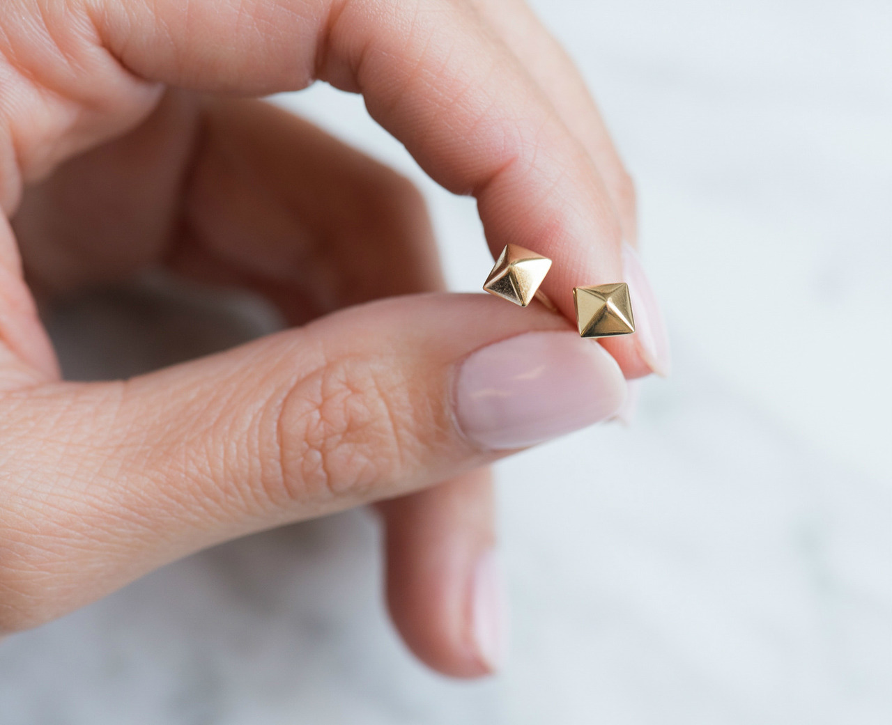 0d4ae20ec 14k gold pyramid stud earrings