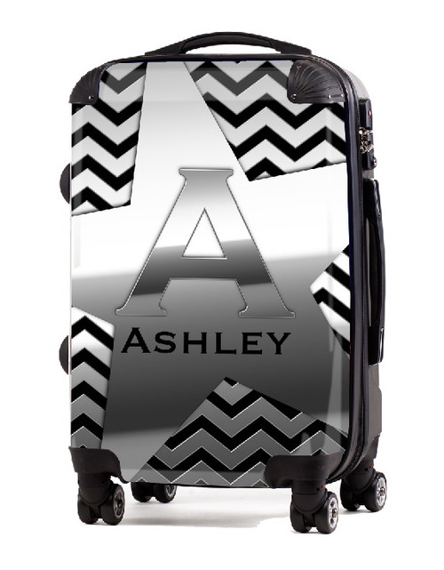 """Silver on Black 20"""" Carry-on Luggage"""