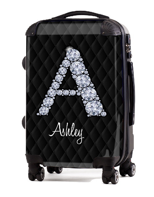 "Black Box Stitch Diamond Initial 20"" Carry-on Luggage"