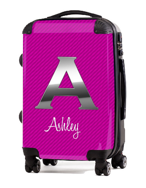 """Carbon Fiber Pink Initial 20"""" Carry-on Luggage"""