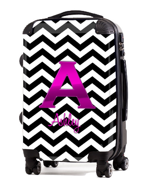 """Black Chevron Pink Initial 20"""" Carry-on Luggage"""