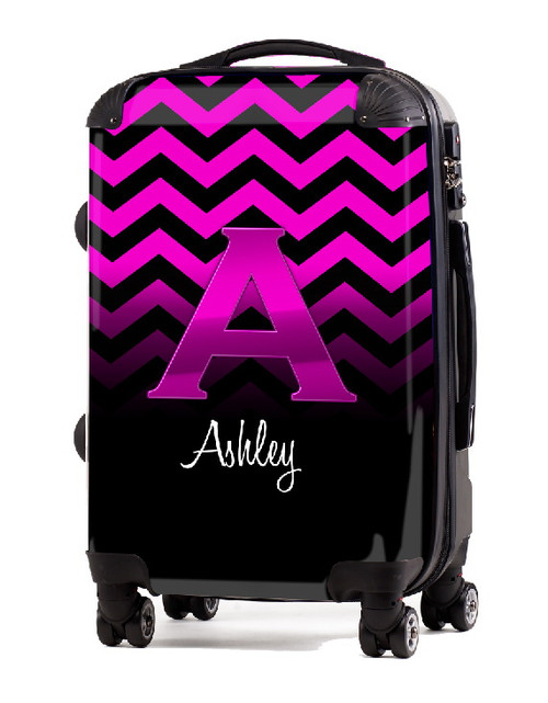 """Pink Chevron Pink Initial 20"""" Carry-on Luggage"""