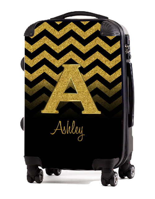 """Gold Chevron Gold Initial 20"""" Carry-on Luggage"""