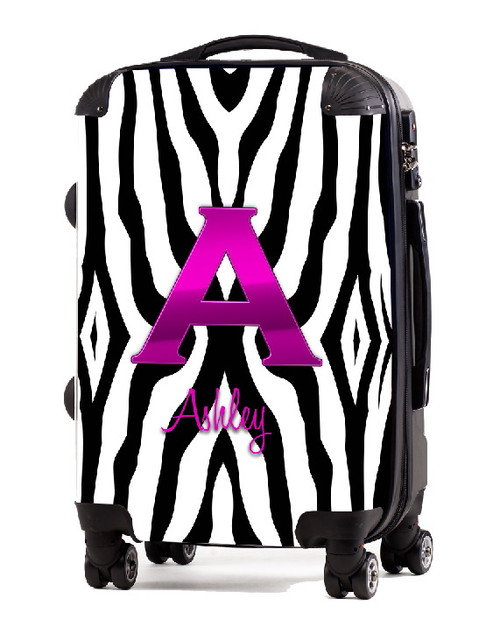 "Black Zebra Pink Initial 20"" Carry-on Luggage"
