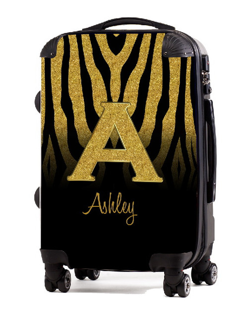 """Gold Zebra Gold Initial 20"""" Carry-on Luggage"""