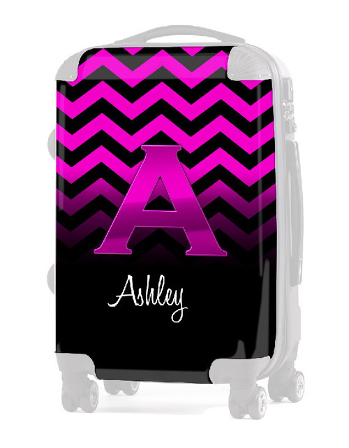 """INSERT PINK CHEVRON PINK INITIAL  20"""" Luggage"""
