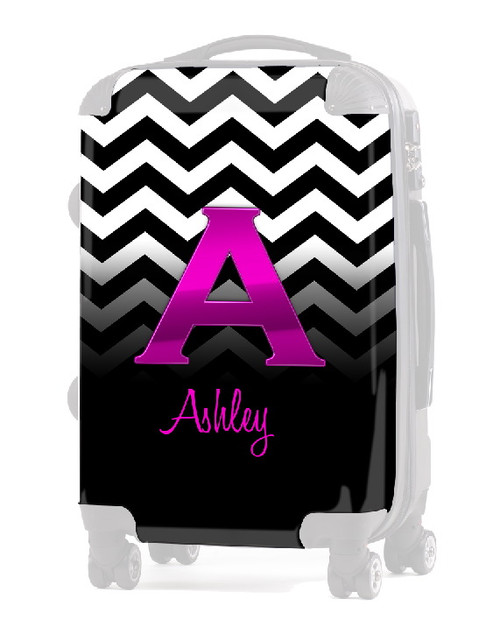 "INSERT BLACK WHITE CHEVRON PINK INITIAL 24"" Luggage"
