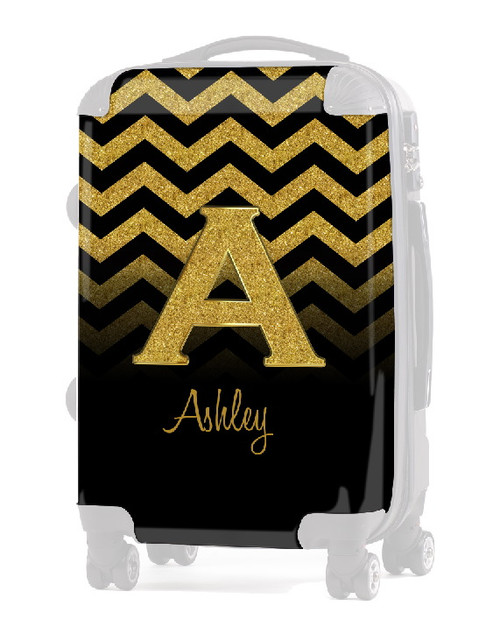 "INSERT Gold Chevron Gold Initial INITIAL  20"" Luggage"