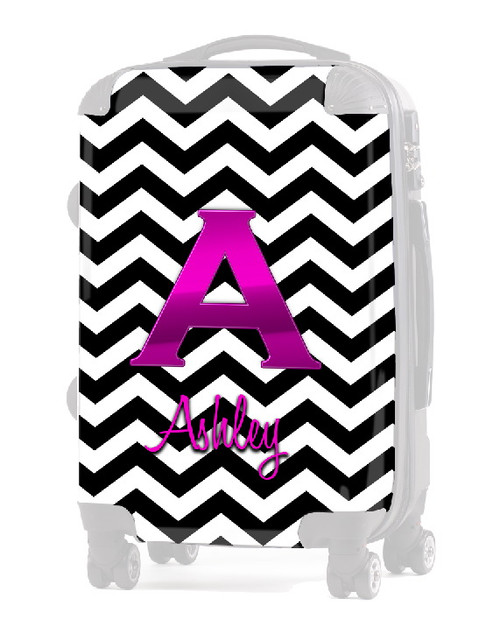 "INSERT Black Chevron Pink Initial  20"" Luggage"