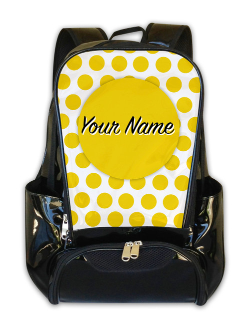 Yellow Polka Dots -Personalized Backpack