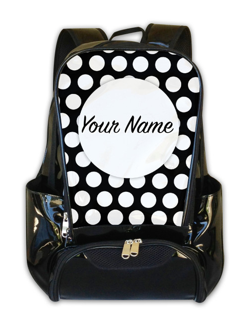 White Polka Dots -Personalized Backpack