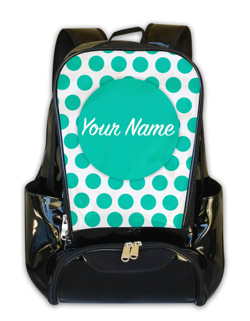 Teal Polka Dots -Personalized Backpack