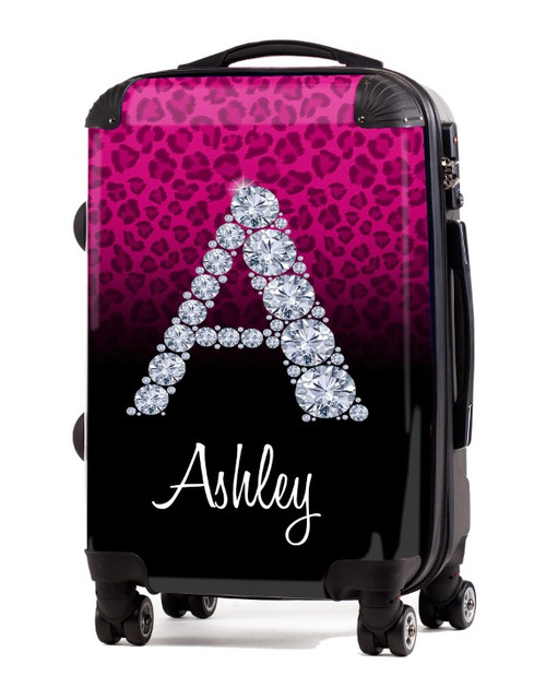 """Cheetah Diamond Initial-Pink 20"""" Carry-on Luggage"""