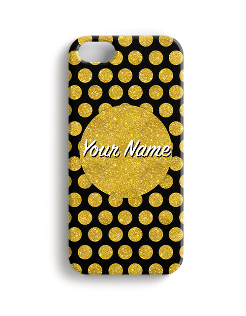 Gold-Black Polka Dots - Phone Snap on Case