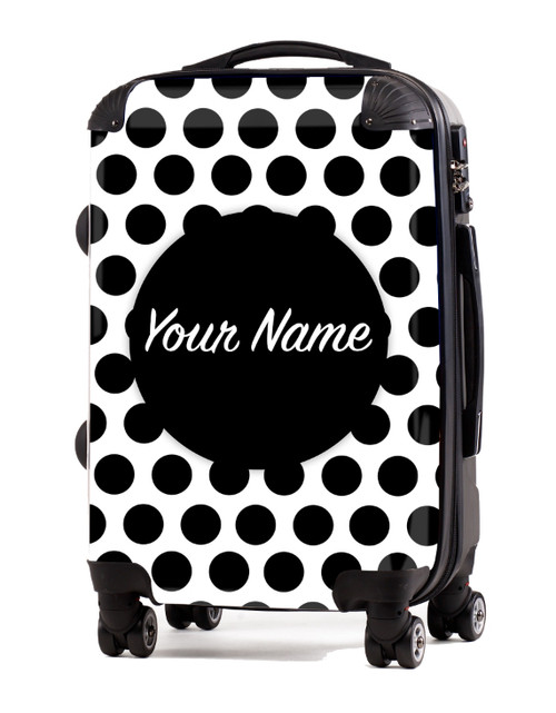 """Black Polka Dots - 20"""" Carry-On Luggage"""
