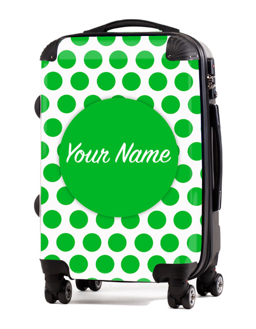 "Green Polka Dots - 20"" Carry-On Luggage"