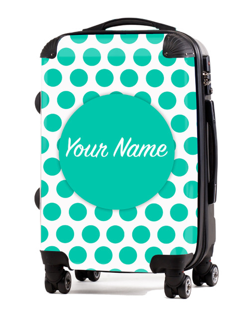 """Teal Polka Dots - 20"""" Carry-On Luggage"""