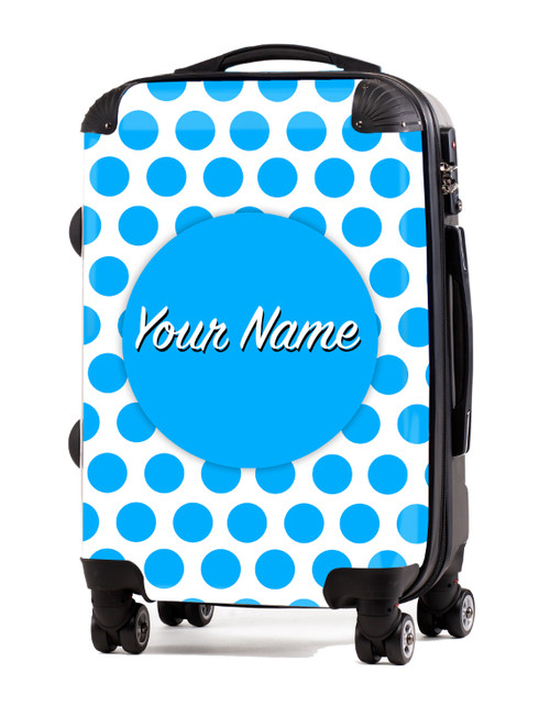 "Baby Blue Polka Dots - 24"" Check-in Luggage"