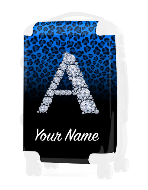 "Baby Blue/Black Cheetah - Graphic Insert for - 24"" Check-in Luggage"