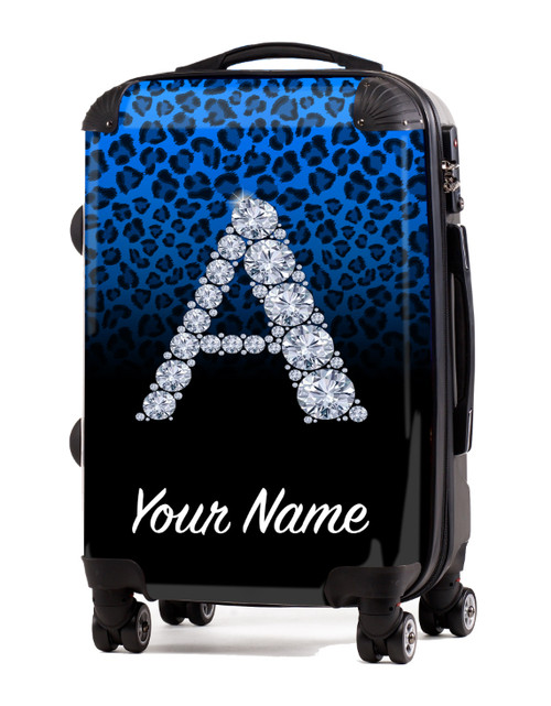 "Baby Blue/Black  Cheetah - 20"" Carry-On Luggage"