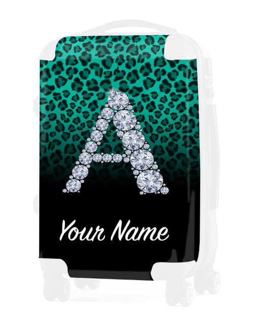 "Teal/Black Cheetah - Graphic Insert for - 20"" Carry-On Luggage"