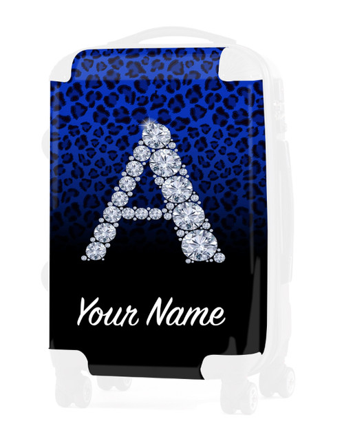 """Blue/Black Cheetah - Graphic Insert for - 20"""" Carry-On Luggage"""