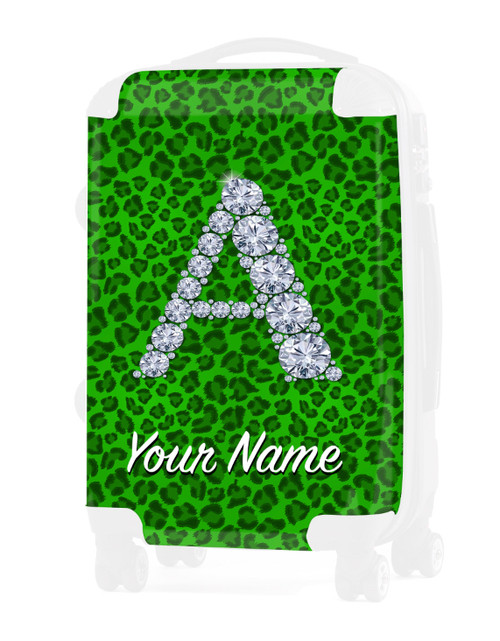 """Green  Cheetah - Graphic Insert for - 20"""" Carry-On Luggage"""