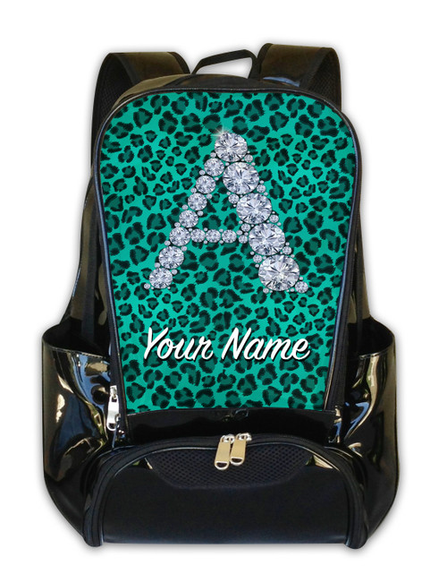 Teal Cheetah Personalized Backpack