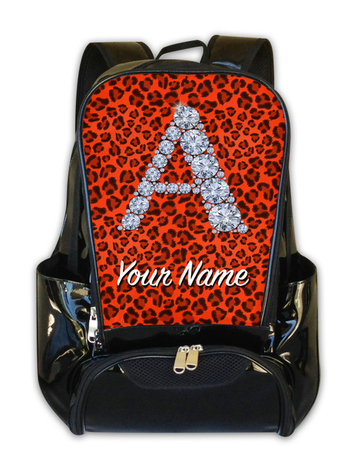 Orange Cheetah Personalized Backpack
