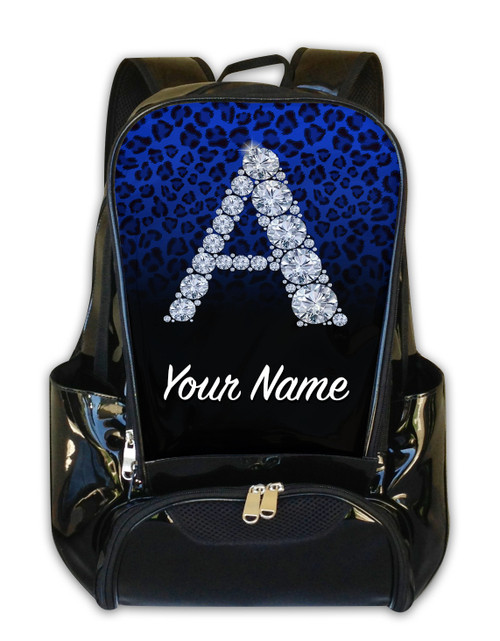 Blue/Black Cheetah Personalized Backpack