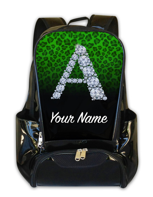Green/Black Cheetah Personalized Backpack