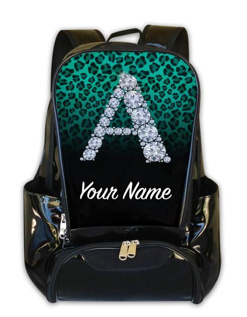 Teal/Black Cheetah Personalized Backpack