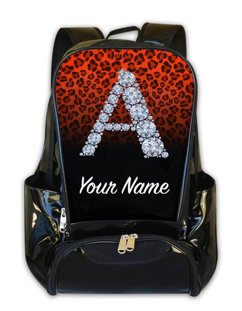 Orange/Black Cheetah Personalized Backpack