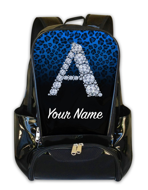 Baby Blue/Black Cheetah Personalized Backpack