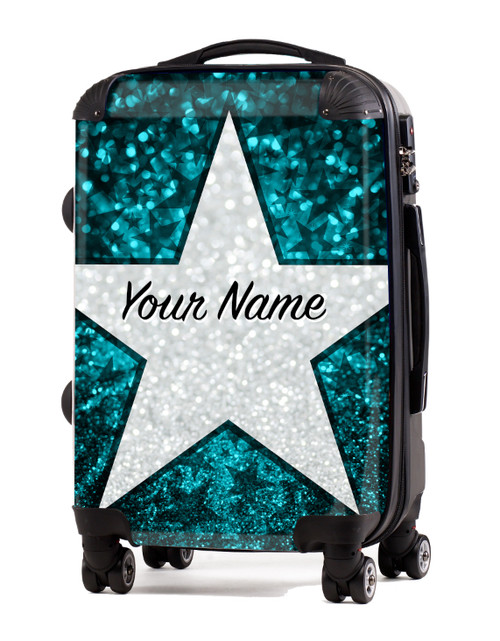 "Teal Glitter Stars - 20"" Carry-On Luggage"