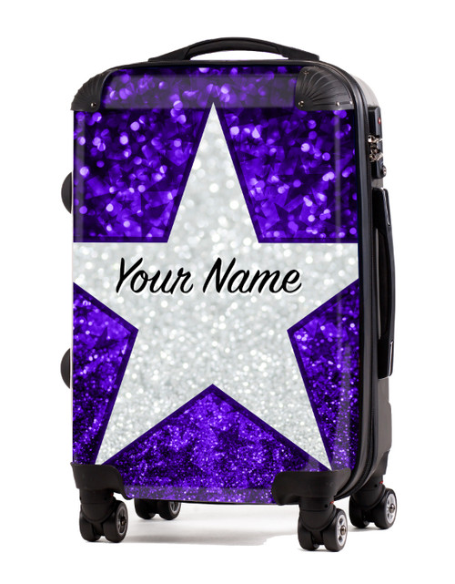 "Purple Glitter Stars - 20"" Carry-On Luggage"
