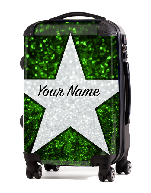 "Green Glitter Stars - 20"" Carry-On Luggage"