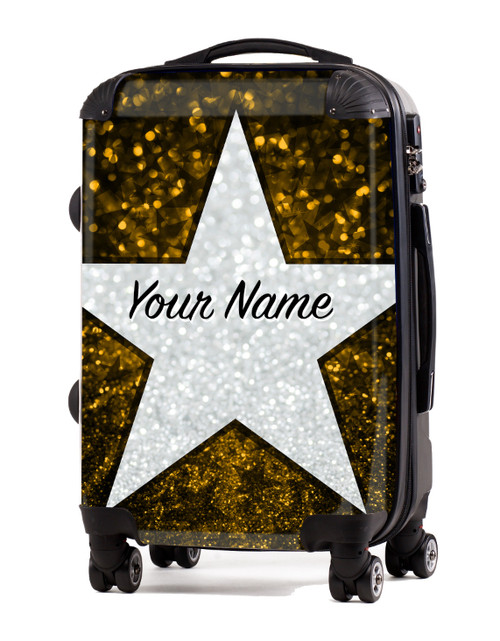 "Yellow Glitter Stars - 20"" Carry-On Luggage"