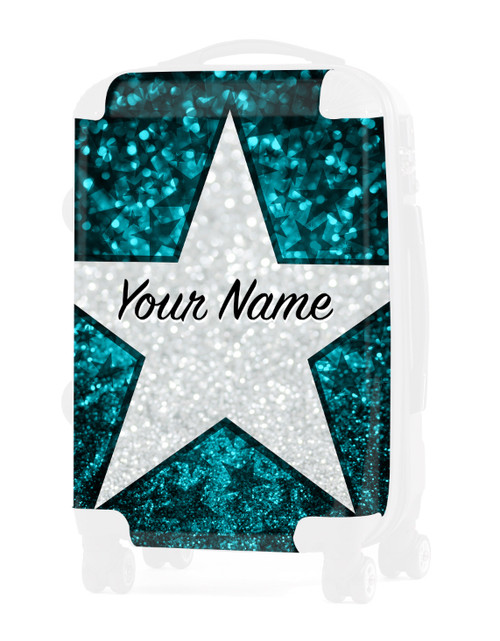 """Teal Glitter Stars - Graphic Insert for - 20"""" Carry-On Luggage"""