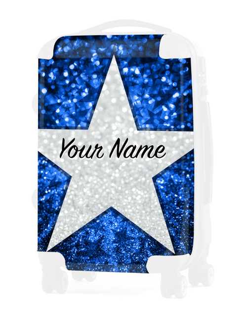 """Baby Blue Glitter Stars - Graphic Insert for - 20"""" Carry-On Luggage"""