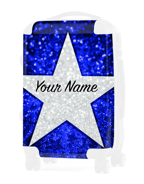 "Blue  Glitter Stars - Graphic Insert for - 20"" Carry-On Luggage"