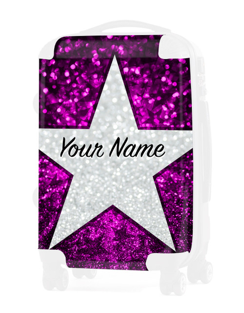 """Pink Glitter Stars - Graphic Insert for - 20"""" Carry-On Luggage"""
