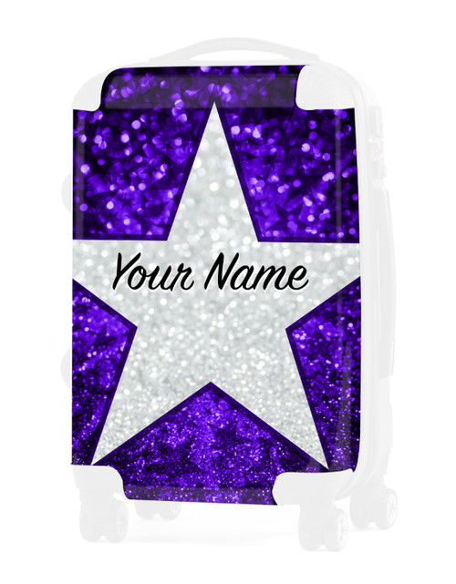 "Purple Glitter Stars - Graphic Insert for - 20"" Carry-On Luggage"