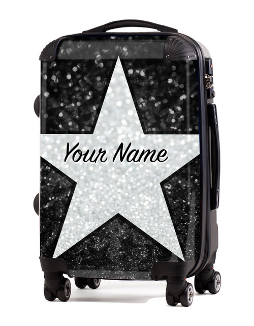 "Black Glitter Stars - 20"" Carry-On Luggage"
