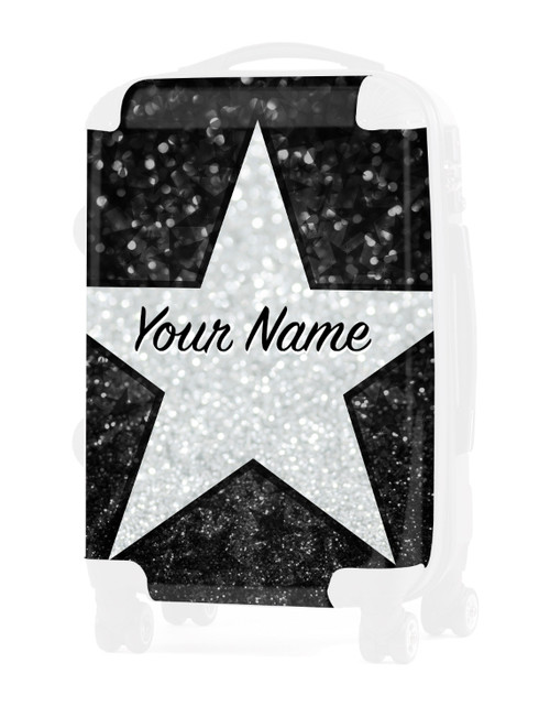 "Black Glitter Stars - Graphic Insert for - 20"" Carry-On Luggage"
